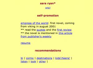 front page of sararyan.com circa 2000