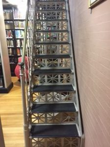 photo of cool metal library staircase