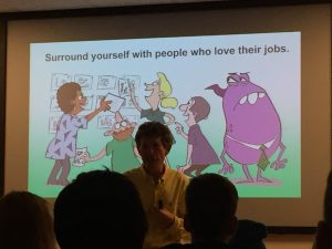"slide ""Surround yourself with people who love their jobs"""